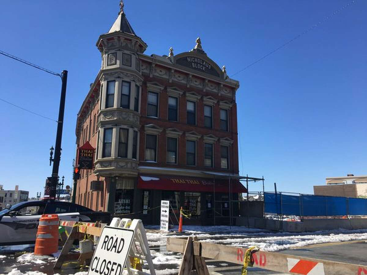 State Street in Schenectady between Erie Boulevard and South Ferry Street remains closed near the Nicholaus building on Tuesday, April 5, 2016, in Schenectady, N.Y. (Will Waldron/Times Union)