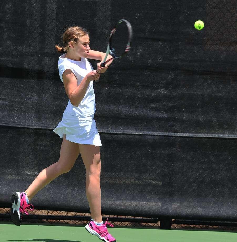 Carine Rizk (15) practices tennis at Awty International School 4/19/13. Photo by Tony Bullard. Photo: Â Tony Bullard 2013, Freelance Photographer / © Tony Bullard & the Houston Chronicle