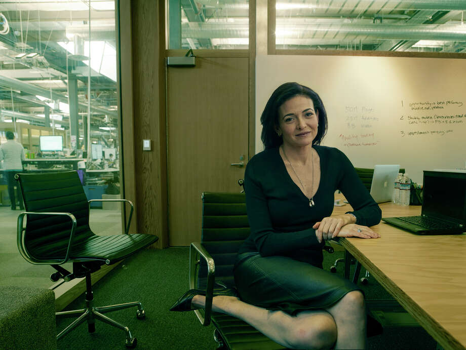 Facebook Chief Operating Officer Sheryl Sandberg confidently sits for her portrait in Annie Leibovitz's exhibition.