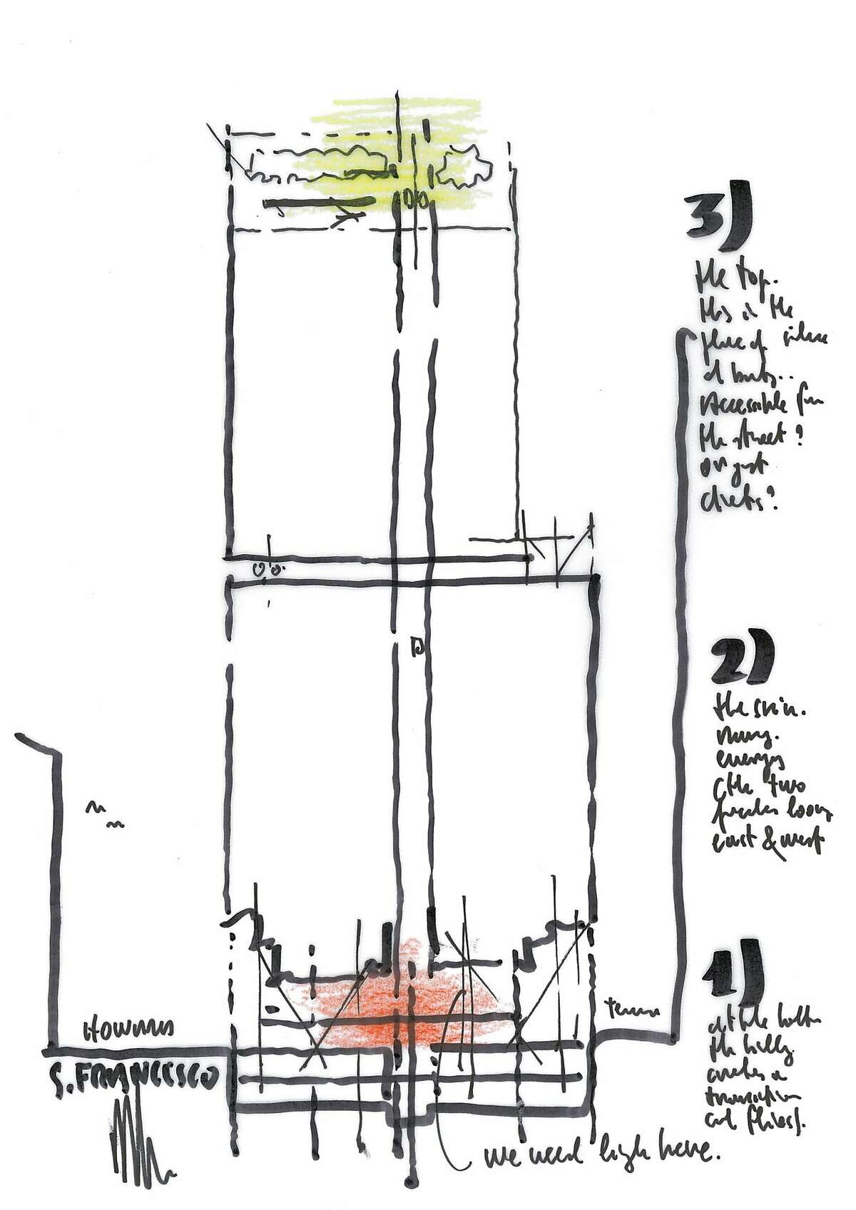 Though still conceptual, Renzo Piano's vision for 555 Howard St. in San Francisco is a simple 37-story slab wrapped in two layers of glass to reduce heat and glare inside. Inside would be a hotel and condominiums.
