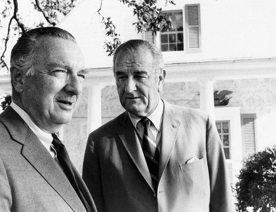 News correspondant Walter Cronkite is shown with President Lyndon B. Johnson in this December 1969 photo. Johnson will be seen in conversation with Cronkite in the first of a series of CBS news broadcasts devoted to the former President's story of the tumultuous years of his presidency. (AP Photo/CBS, HO) Photo: ASSOCIATED PRESS