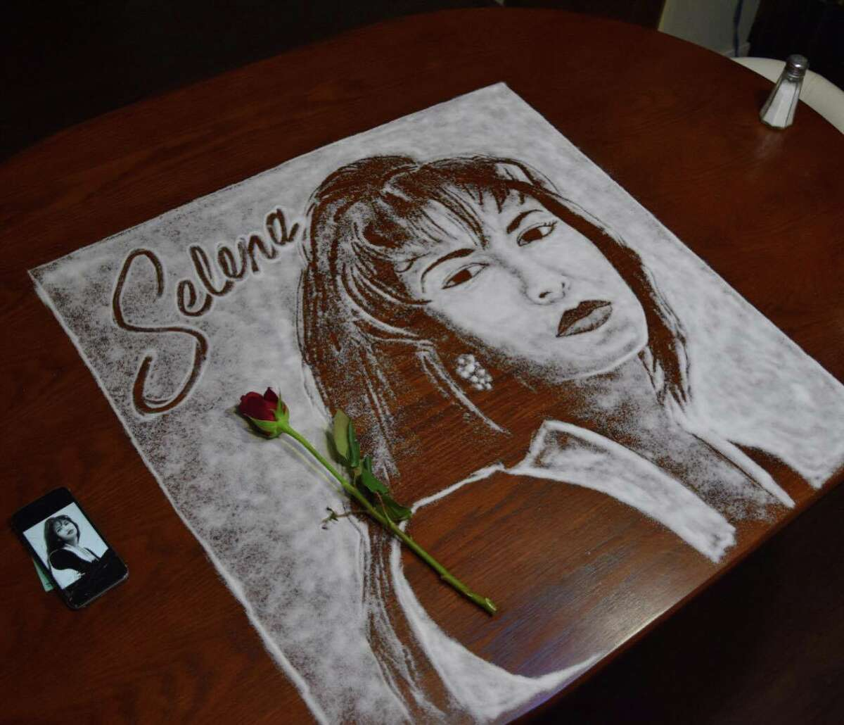 """A portrait of Selena Quintanilla Perez made of art by Rob """"The Original Ferrel"""" at the request of her brother, A.B. Quintanilla, on April 4."""