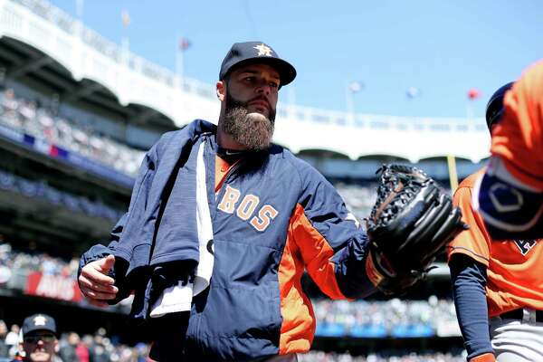 NEW YORK, NY - APRIL 5:  Dallas Keuchel #60 of the Houston Astros walks to the dugout prior to the game against the New York Yankees at Yankee Stadium on Tuesday, April 5, 2016 in the Bronx borough of New York City.