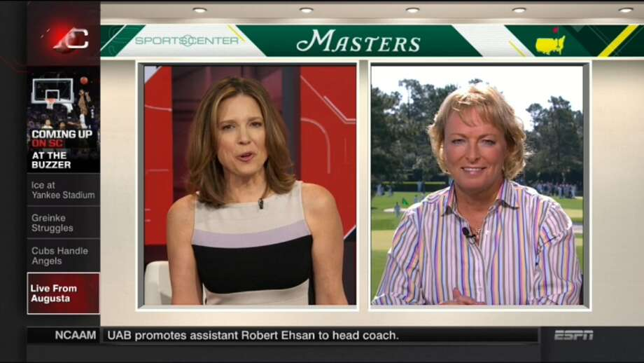 Dottie Pepper, right, makes an appearance on SportsCenter on Tuesday. (Photo courtesy ESPN)