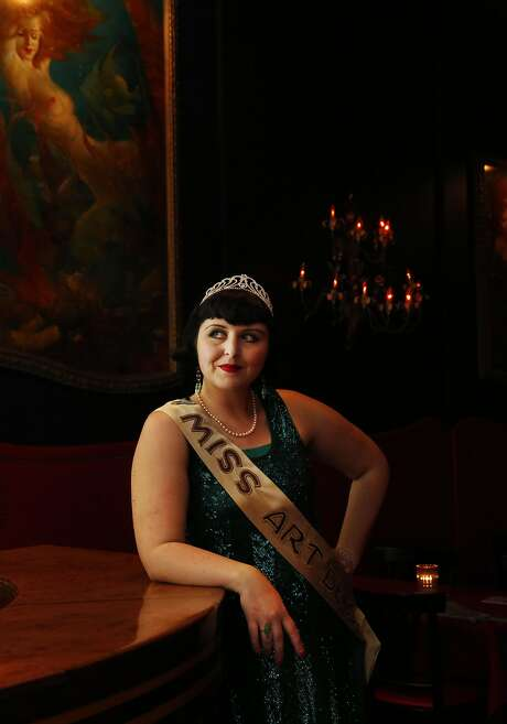 Miss Art Deco Katherine Brookes poses for a portrait during the Art Deco Society of California's 32nd annual Art Deco Preservation Ball at Bimbo's 365 Club. Photo: Leah Millis, The Chronicle