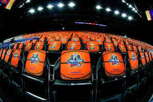 Final Four seat covers sit on chairs before the NCAA National Championship at NRG Stadium Monday, April 4, 2016 in Houston.