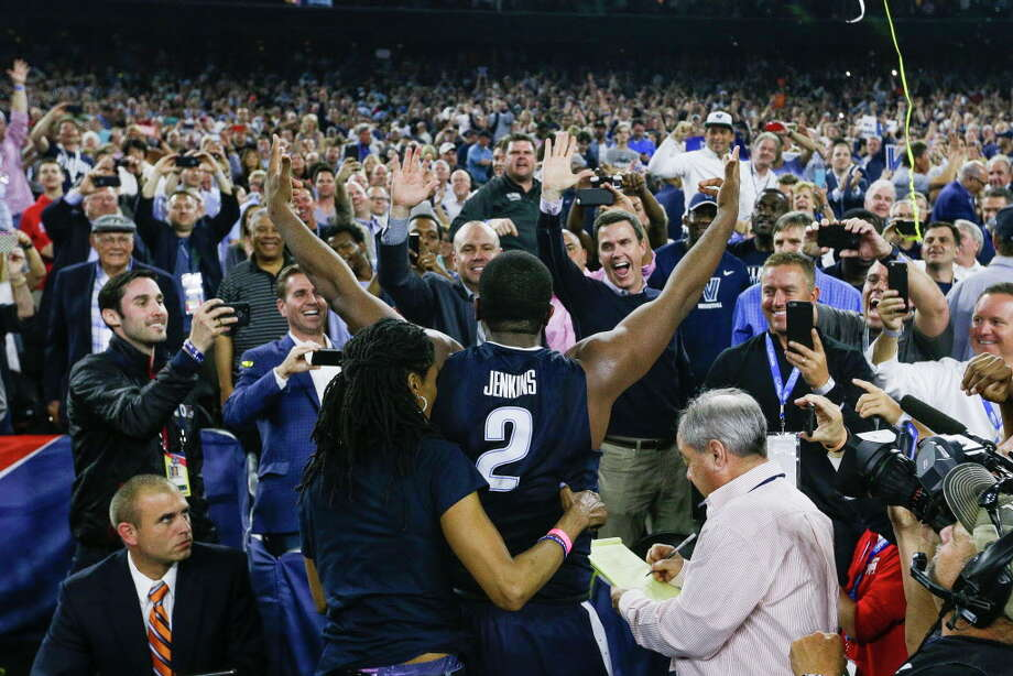 Villanova forward Kris Jenkins (2) celebrates with the crowd after winning the NCAA National Championship at NRG Stadium, Monday, April 4, 2016, in Houston. Photo: Brett Coomer, Houston Chronicle / © 2016 Houston Chronicle