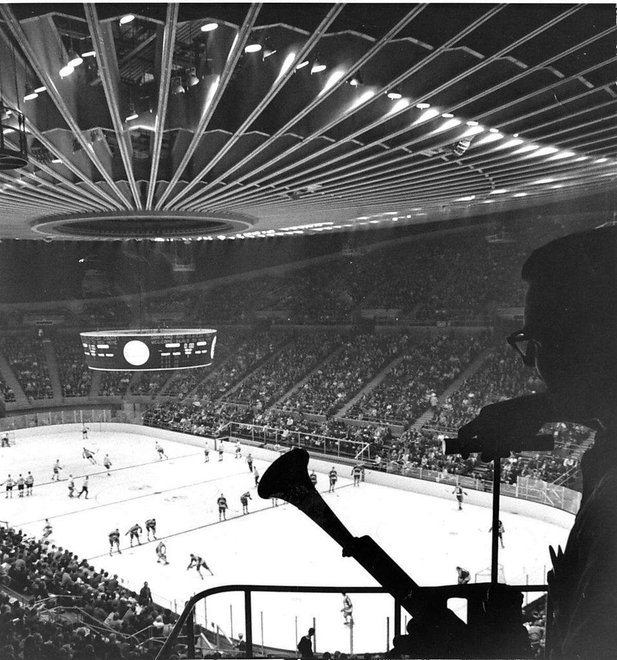 The Oakland Coliseum and Arena construction completed Seen here, the inauguration of Arena as it is hosting an Ice Hockey game between the California Seals and San Diego Gulls AP Photo photo ran 12/11/1966, p. 8