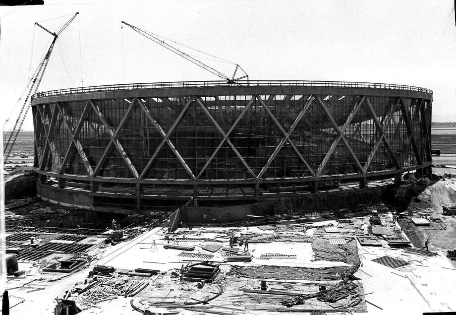 In this July 1966 archival photo, The Oakland Arena - as it was known then - is seen under construction. We now know the venue will host it's final Warriors game on June 7th or June 13th as the Golden State Warriors host the Toronto Raptors in the NBA Finals. Photo: Stan Creighton, The Chronicle
