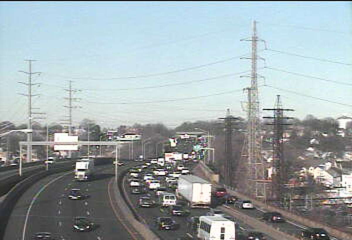 A car fire slowed traffic on Interstate 95 southbound in Stamford on Tuesday.