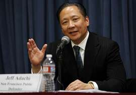 San Francisco Public Defender Jeff Adachi speaks to the media during a news conference in San Francisco, California, on Tuesday, Dec. 1, 2015.