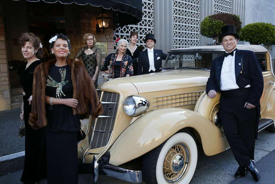 Art Deco Society of California Board of Directors members, from left: Preservation Director Therese Poletti, Vice President Robin Brewer Cawelti, Programs Director Theresa LaQuey, secretary Alice Jurow, preservation award winner Heather Ripley, ADSC Ambassador Joe DiPietro and publicity director Jim Lipman pose outside before the Art Deco Society of California's 32nd annual Art Deco Preservation Ball at Bimbo's 365 Club April 2. Photo: Leah Millis, The Chronicle