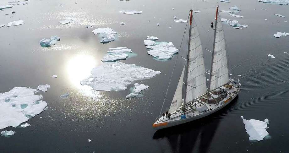 This file photo shows the French scientific expedition schooner Tara at the Kaiser Franz Joseph fjord, on the eastern coast of Greenland studying marine ecosystems subjected to climate change. New reports highlight the severity of the situation. Photo: J. FIDZGERALD /AFP /Getty Images / AFP