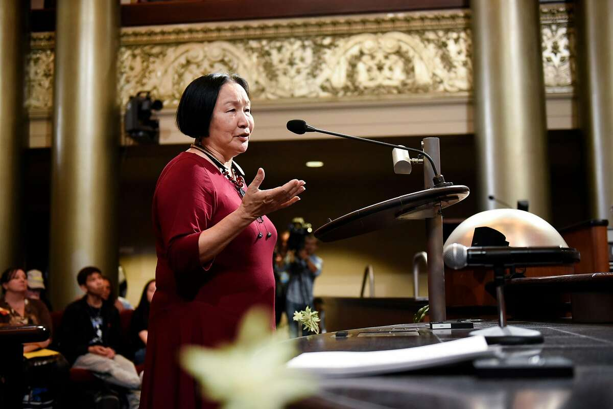 Former Oakland mayor Jean Quan speaks during a public comment section during an Oakland City Council meeting held to decide whether to impose a 90-day moratorium on no-cause evictions and rent increases for Oakland residents, at City Hall in Oakland, CA, Tuesday, April 5, 2016.