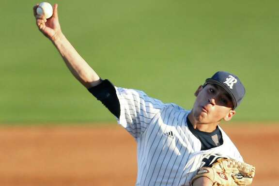 Rice pitcher Willy Amador (42) pitches during the second inning of a college baseball game at Reckling Park Tuesday, April 5, 2016, in Houston.