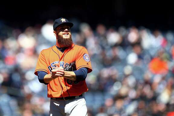 NEW YORK, NY - APRIL 5:  Dallas Keuchel #60 of the Houston Astros looks on in the first inning during the game against the New York Yankees at Yankee Stadium on Tuesday, April 5, 2016 in the Bronx borough of New York City. (Photo by Rob Tringali/MLB Photos via Getty Images)