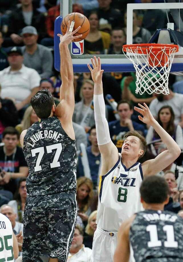 Utah Jazz guard Ricky Rubio (3) guards San Antonio Spurs guard Tony Parker (9) during the first half of an NBA basketball game Thursday, Dec. 21, 2017, in Salt Lake City. (AP Photo/Rick Bowmer) Photo: Rick Bowmer, Associated Press / Copyright 2017 The Associated Press. All rights reserved.