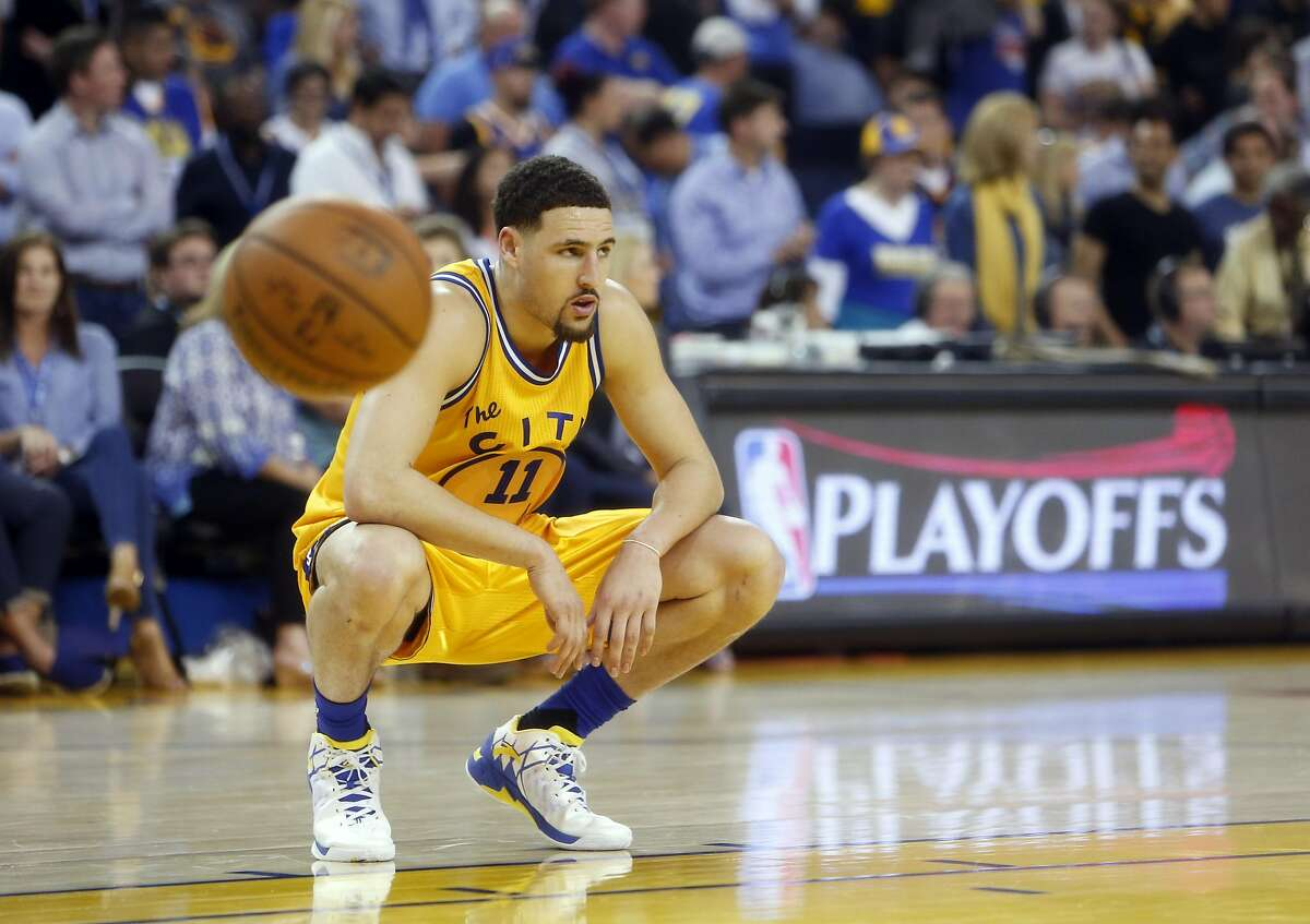 Golden State Warriors' Klay Thompson reacts in final minute of Warriors' 124-117 overtime loss to fMinnesota Timberwolves in NBA game at Oracle Arena in Oakland, Calif., on Wednesday, April 5, 2016.