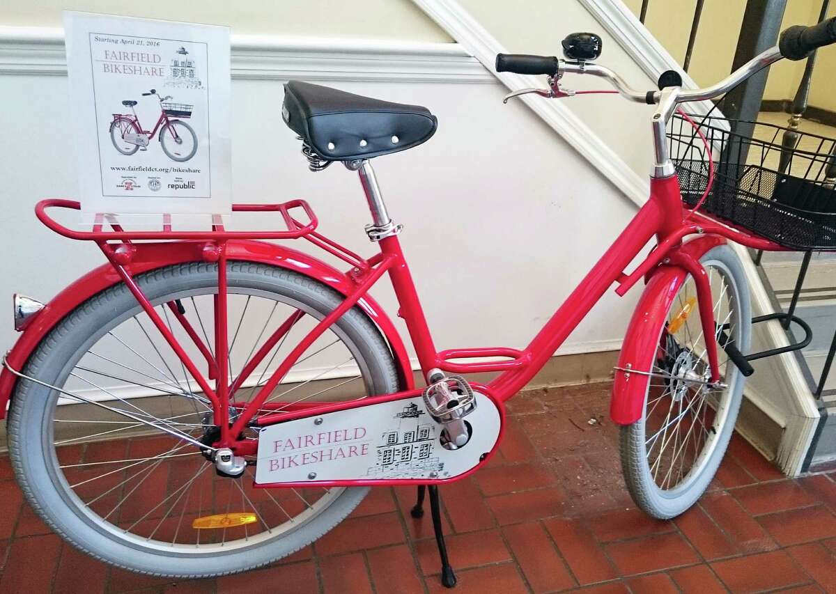 One of the 10 custom-designed bikes that will be available for free through the Fairfield BikeShare program.