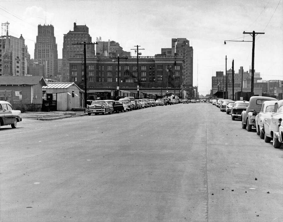 From the July 6, 1961, Houston Post: The Prairie-Texas Avenue combination will be extended soon after the rush hour Monday when a new, widened stretch of Prairie alongside the Union Station, between Crawford and Dowling Streets, is opened. Signs converting it to a one-way street west and that twin section of Texas, one way east, will start going up about 9 a.m. Monday, Traffic and Transportation Director Cooper McEachern said. The route will later extend to Harrisburg Boulevard. These days, this view looks out into left field at Minute Maid Park. Photo: Owen Johnson, Houston Chronicle / Houston Post files