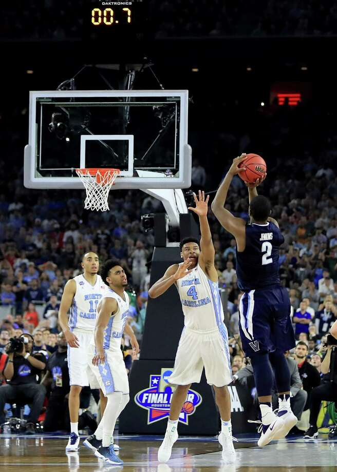 HOUSTON, TEXAS - APRIL 04:  Kris Jenkins #2 of the Villanova Wildcats shoots the game-winning three pointer to defeat the North Carolina Tar Heels 77-74 in the 2016 NCAA Men's Final Four National Championship game at NRG Stadium on April 4, 2016 in Houston, Texas. Photo: Ronald Martinez, Getty Images / 2016 Getty Images
