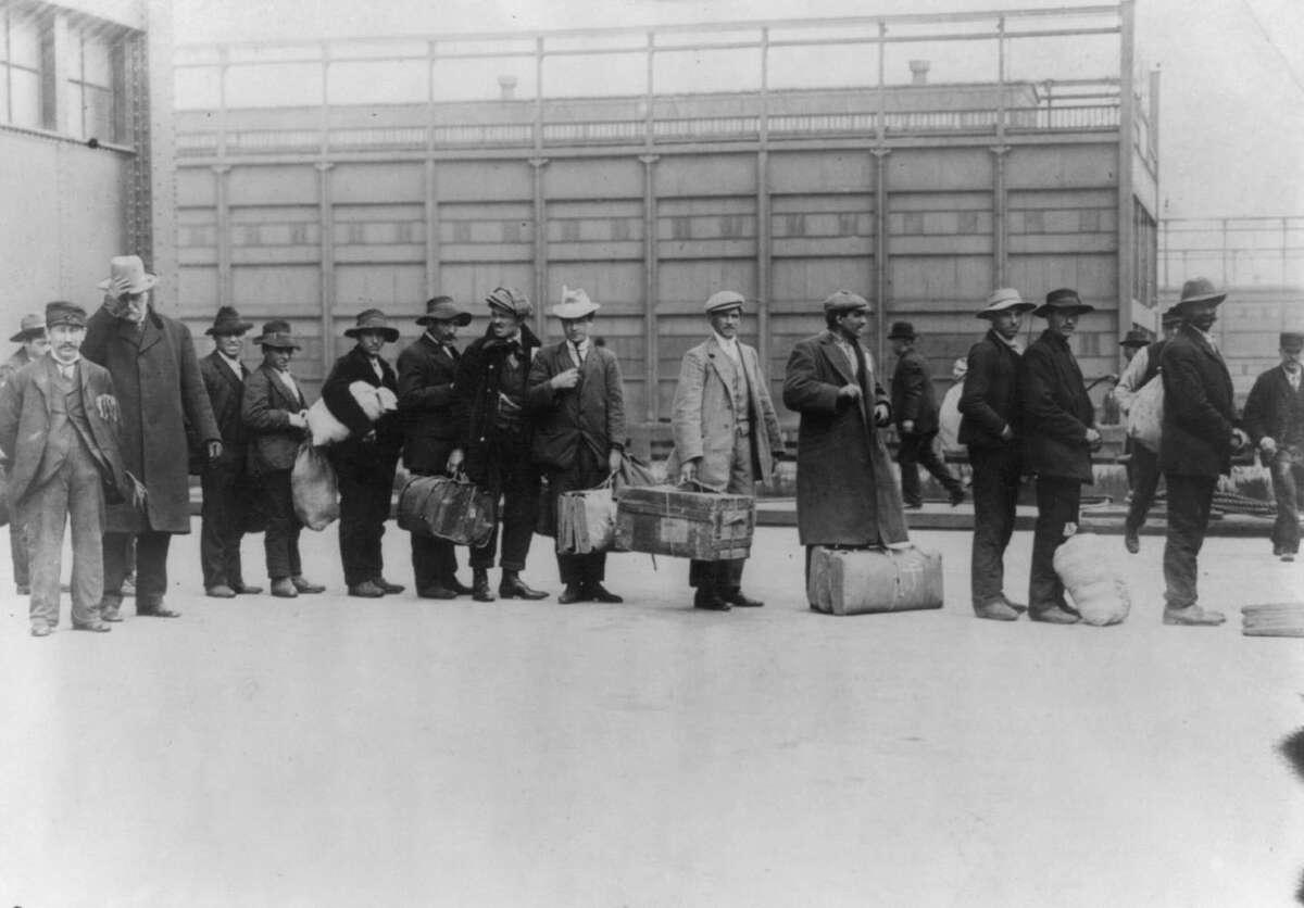 """Immigrants from """"Princess Irene,"""" 1911, Ellis Island, N.Y."""