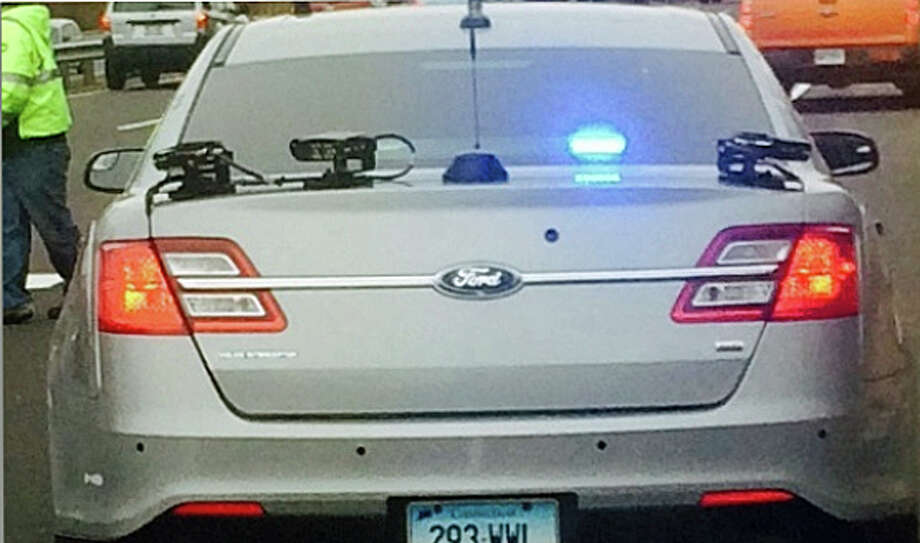 License plate readers on a state police cruisers captures and compares registration plates of vehicles in motion with Department of Motor Vehicle files. The readers help catch a suspected car thief from North Carolina on I-91 on Tuesday, April 5, 2016. Photo: Connecticut State Police Photo Via Facebook.