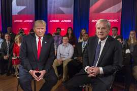 GREEN BAY, WI - MARCH 30:  Republican Presidential candidate Donald Trump films a town hall meeting for MSNBC with Chris Matthews at the Weidner Center located on the University of Wisconsin Green Bay campus on March 30, 2016 in Green Bay, Wisconsin. Candidates are campaigning ahead of the Wisconsin primary on April 5. (Photo by Tom Lynn/Getty Images)