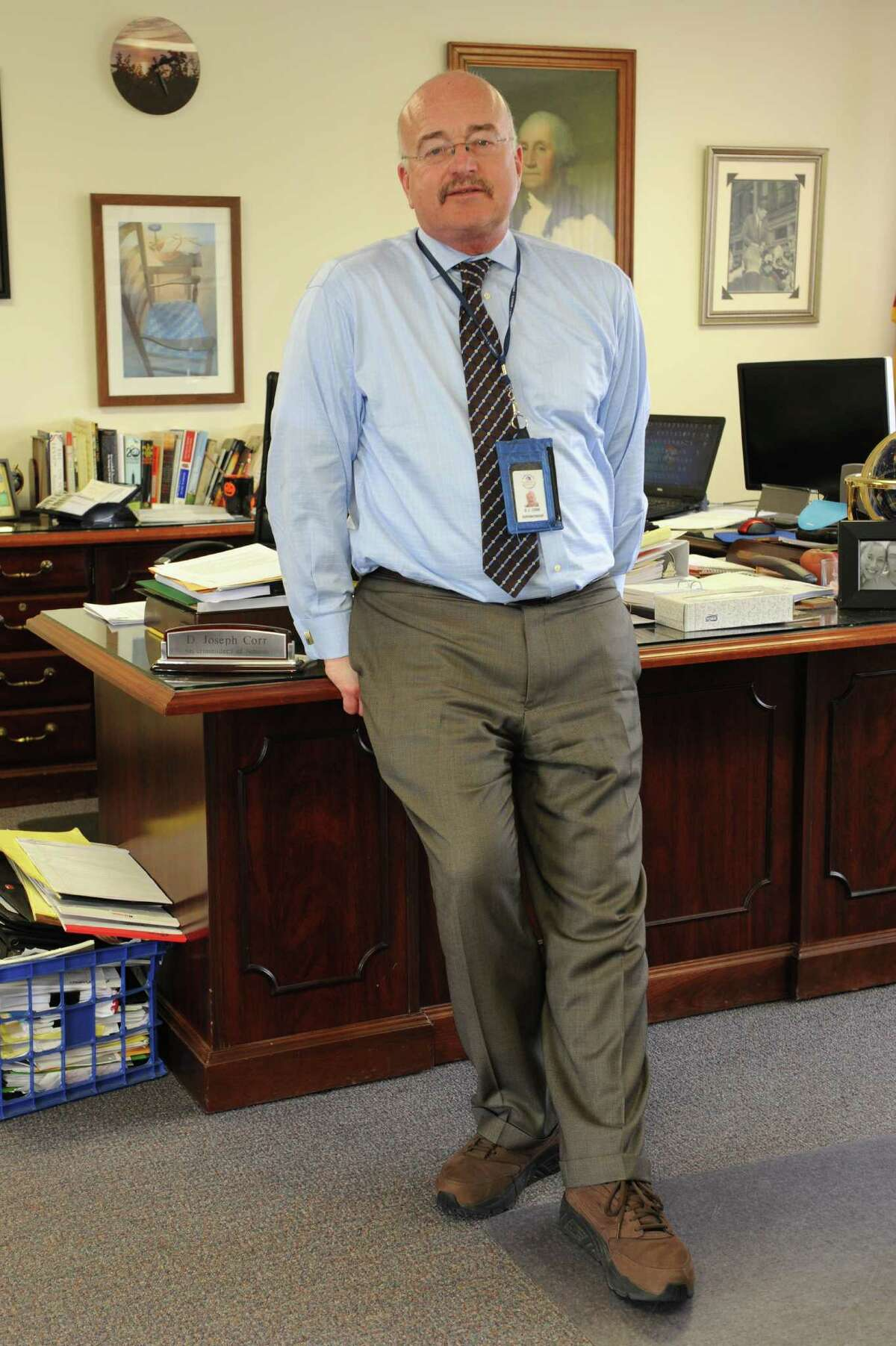 North Colonie School District Superintendent Joseph Corr stands in his office on Wednesday, March 16, 2016 in Colonie, N.Y. (Lori Van Buren / Times Union)