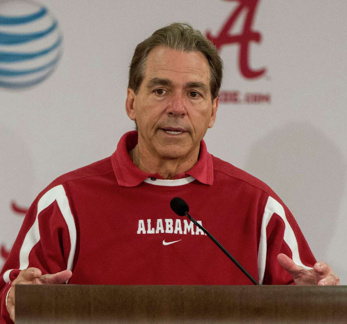 Alabama coach Nick Saban speaks about spring practice during an NCAA college football, Friday, March 11, 2016, at the Mal Moore Athletic Facility in Tuscaloosa, Ala. (Vasha Hunt/AL.com via AP) MAGS OUT; MANDATORY CREDIT