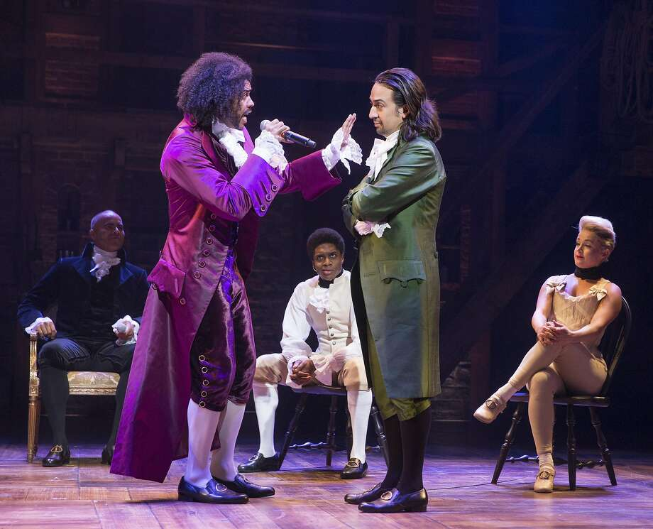 """Daveed Diggs, left, and Lin-Manuel Miranda in his musical """"Hamilton,"""" at Richard Rodgers Theater in New York, July 11, 2015. Before Miranda's musical about the resourceful and rowdy men and women who steered the United States through its formative days as a nation, there was 1776, now in a brief 2016 revival. (Sara Krulwich/The New York Times) Photo: SARA KRULWICH, NYT"""