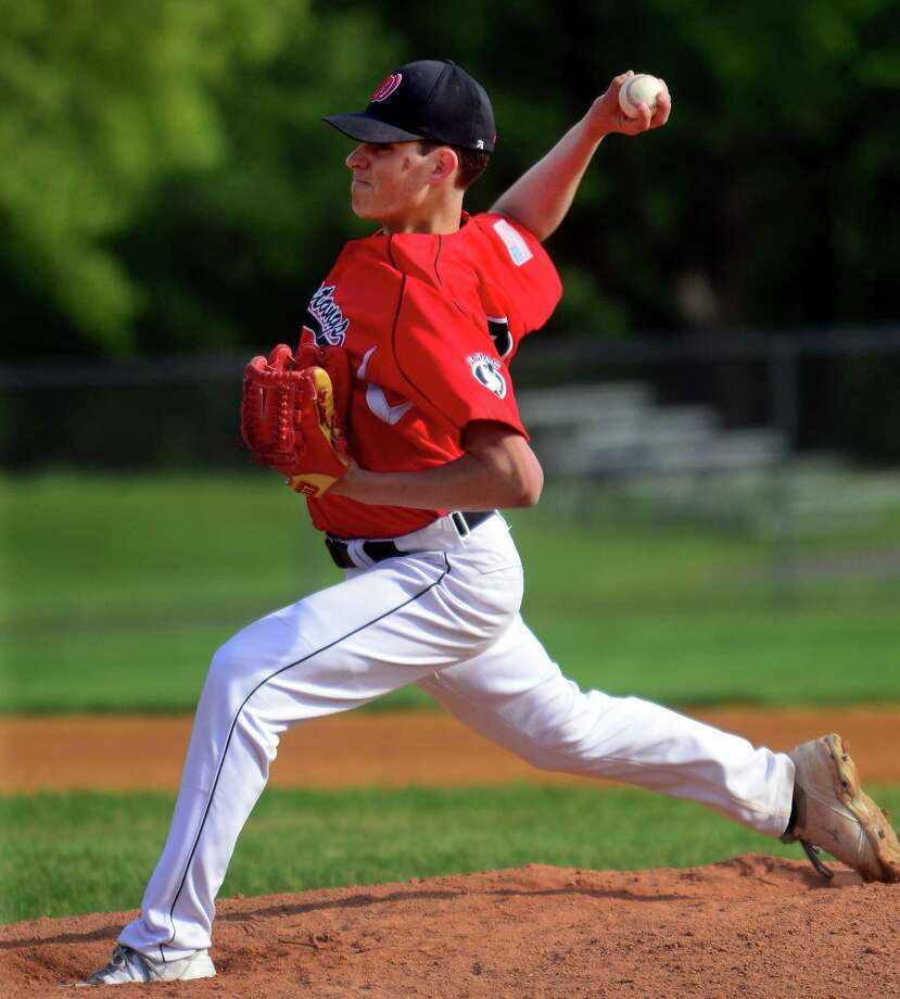 Fairfield Warde's Reece Maniscalco pitches, during baseball action against Trumbull in Trumbull, Conn., on Wednesday May 20, 2015. Maniscalco threw a no-hitter. Photo: Christian Abraham / Christian Abraham / Connecticut Post