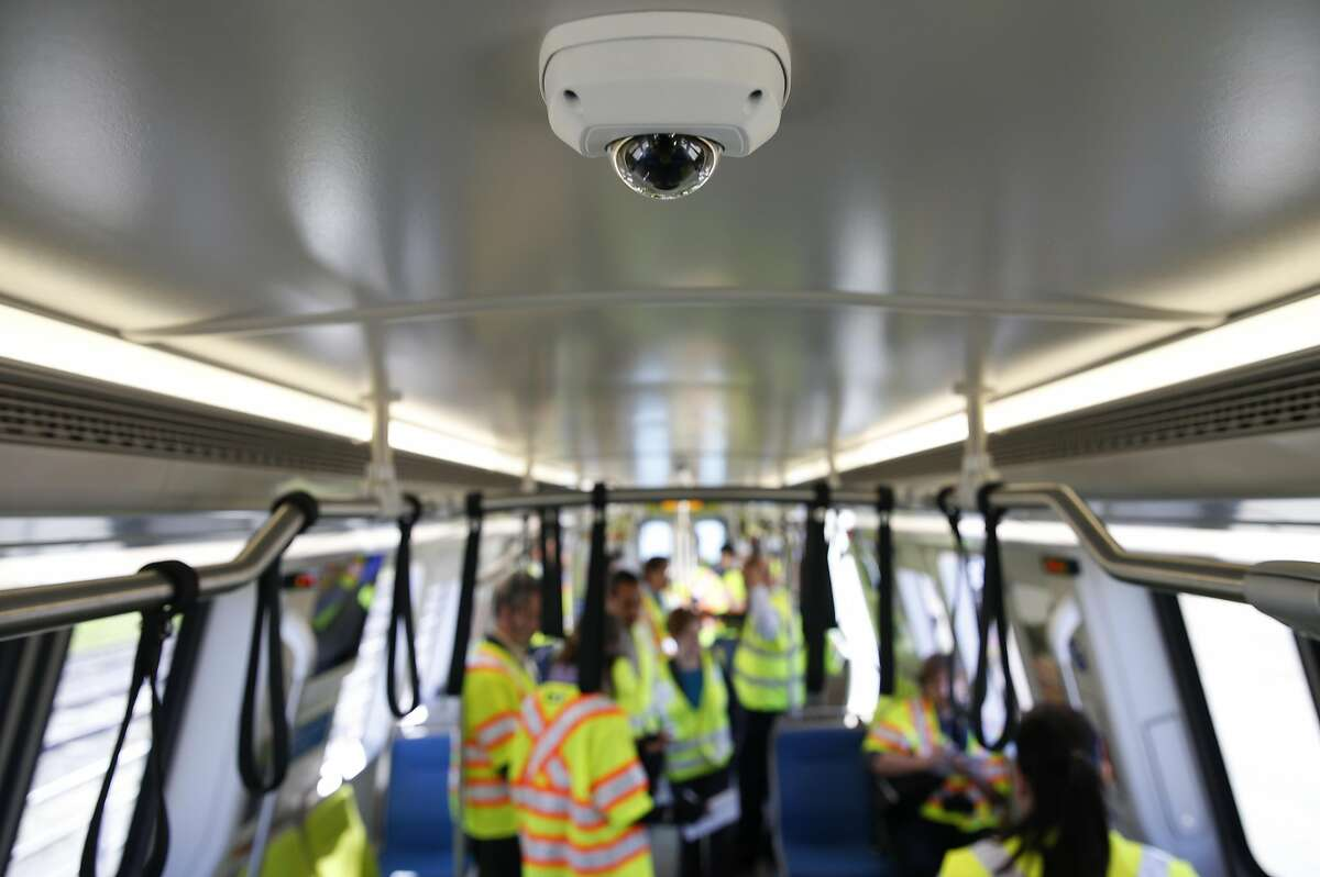 Fully functional security cameras are installed on the ceiling of BART's new train car, the first of agency's new fleet of 775, at the testing facility in Hayward, Calif. on Wednesday, April 6, 2016. BART is targeting revenue service to begin with a complete train of new cars by December 2016, once a rigorous testing phase is completed.
