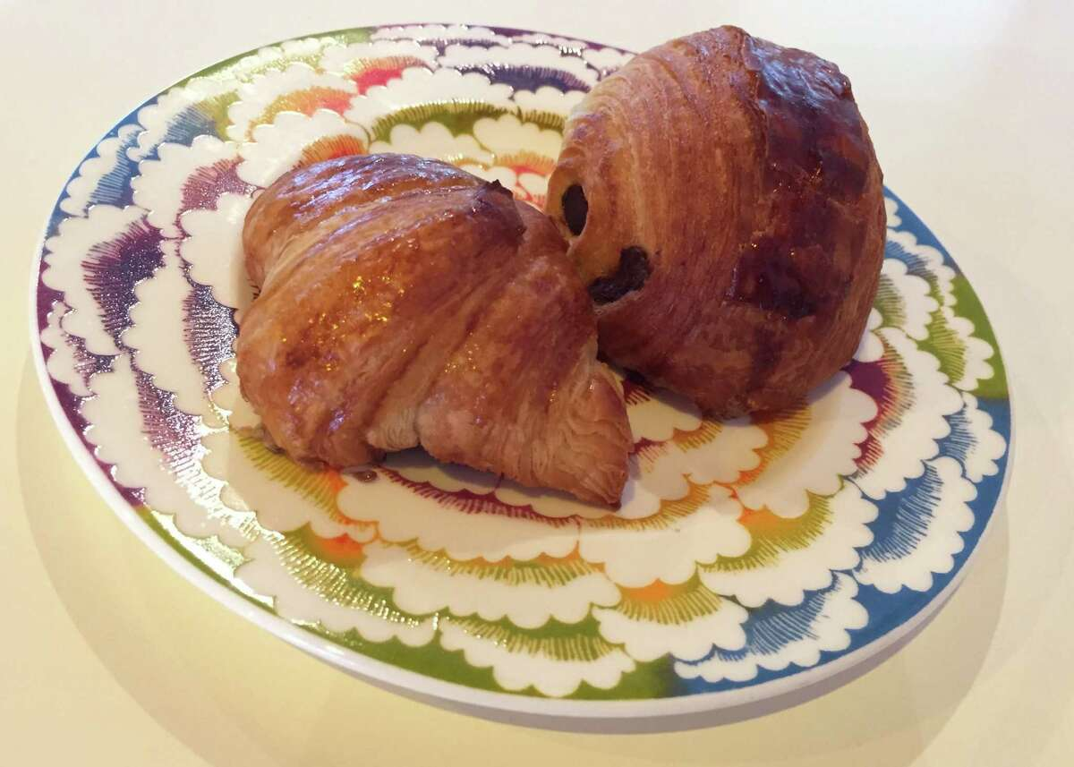 Croissant (left) and pain de chocolate from Guillaume Boulard, the new baker at La Boulangerie