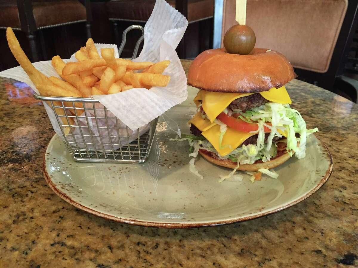 Old School Double Double Burger at El Colegio bar at Omni Mansion del Rio Hotel