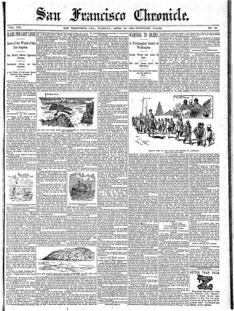 The Chronicle's front page from April 24, 1894, covers Coxey's Army marching on Washington, D.C.