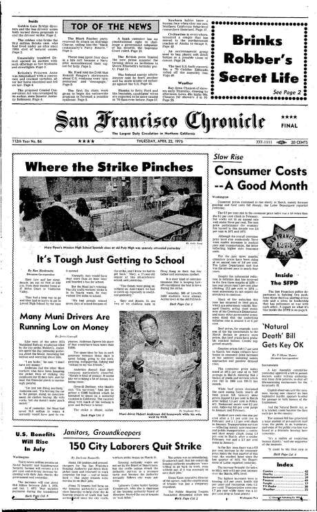 The Chronicle's front page from April 22, 1976, covers a city worker strike that affected transit.