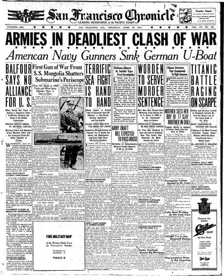 The Chronicle's front page from April 26, 1917, covers a deadly week of battles during World War I.