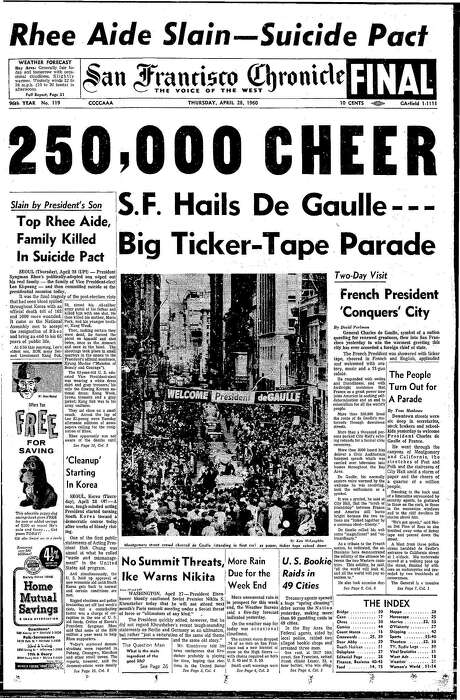 The Chronicle's front page from April 28, 1960, covers a parade for Gen. Charles DeGaulle of France.