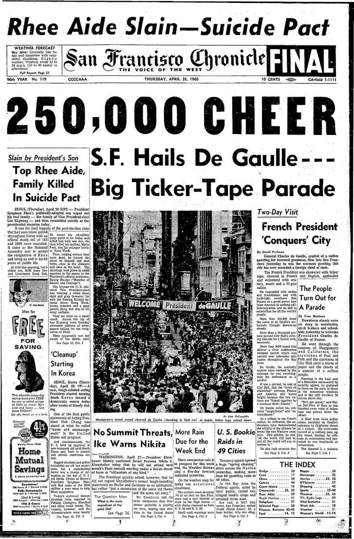 Historic Chronicle Front Page April 28, 1960 Ticker-tape parade General Charles DeGaulle of France visits San Francisco     Chron365, Chroncover