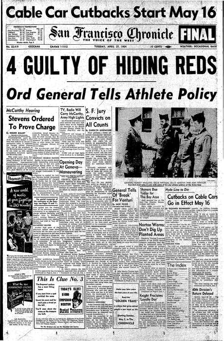 The Chronicle's front page from April 27, 1954, covers the conviction of four people for hiding members of the Communist party.