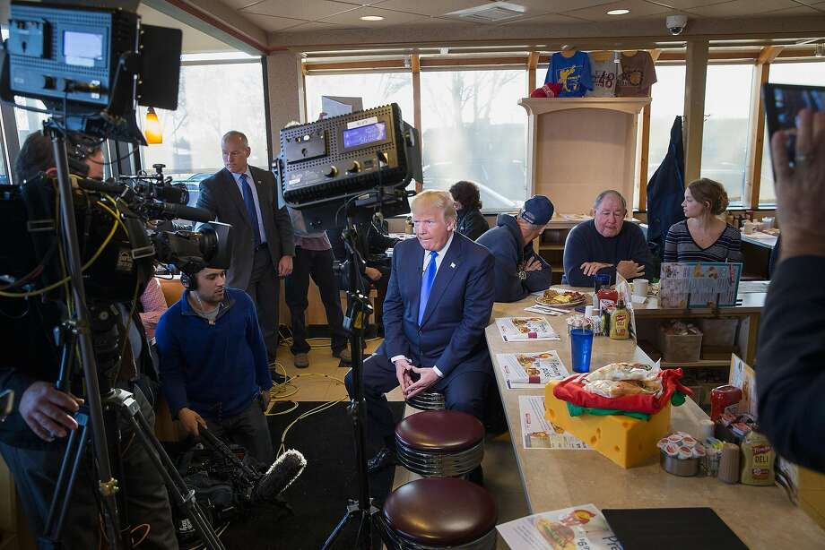 WAUWATOSA, WISCONSIN - APRIL 05:  Republican presidential candidate Donald Trump is interviewed by Fox News at a George Webb diner on April 5, 2016 in Wauwatosa, Wisconsin. Wisconsin residents are voting in the state's primary today.  (Photo by Scott Olson/Getty Images) Photo: Scott Olson, Getty Images