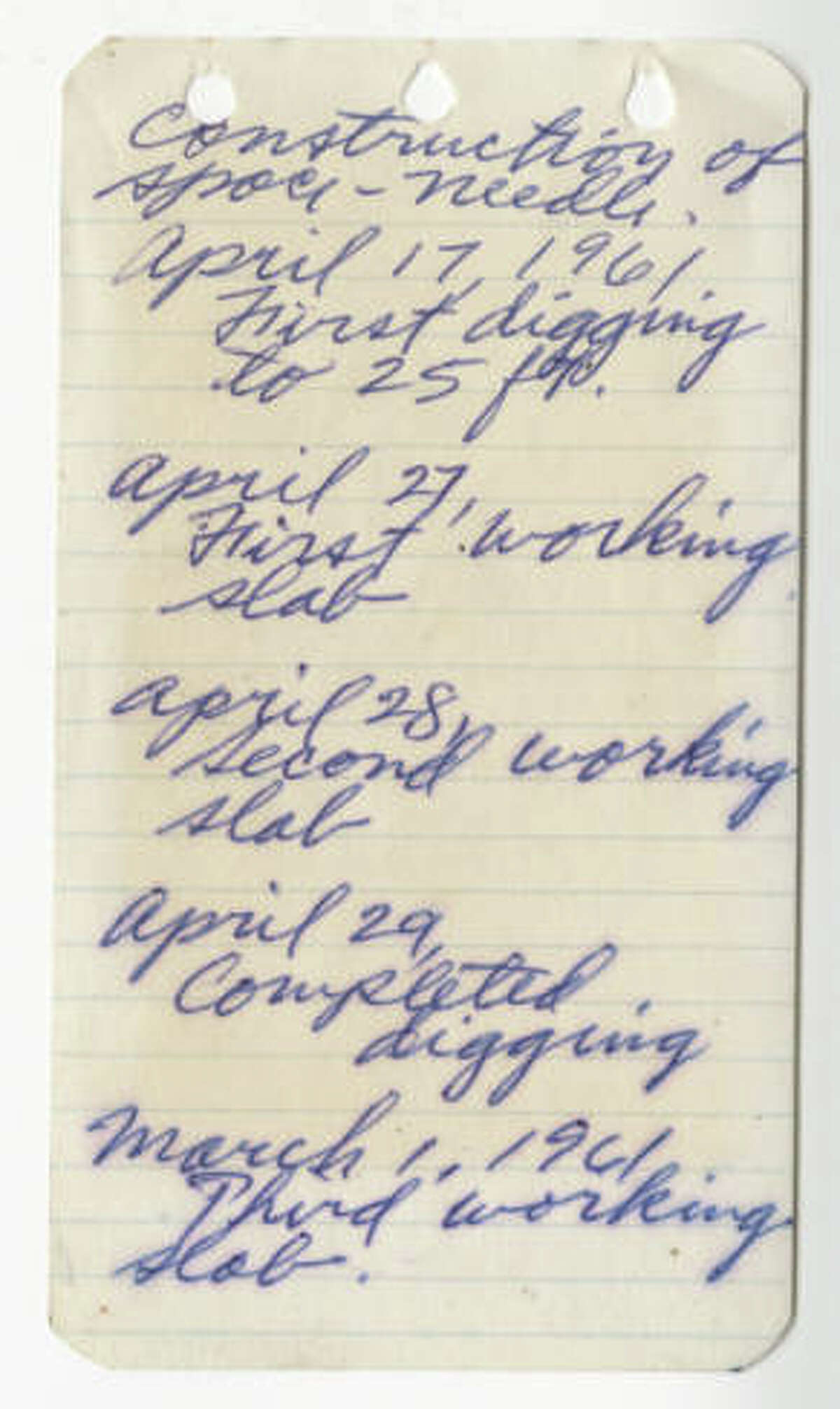 This image shows the first page of a notebook kept by George Gulacsik, who was hired by John Graham to photograph the construction of the Space Needle.