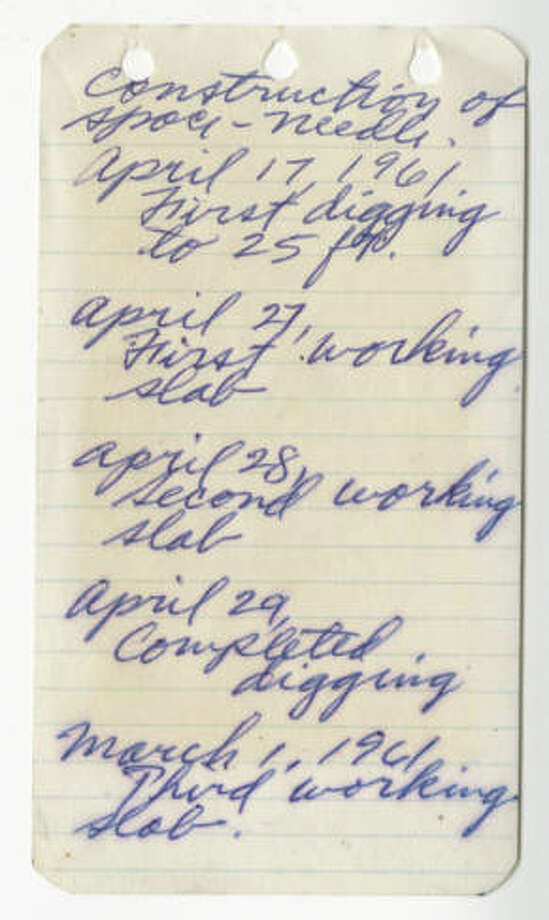 This image shows the first page of a notebook kept by George Gulacsik, who was hired by John Graham to photograph the construction of the Space Needle. Photo: George Gulacsik/Seattle Public Library / 2016 Seattle Public Library
