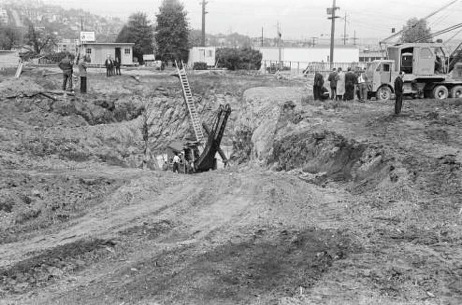 Excavating the Space Needle foundation, April 1961. Photo: George Gulacsik/Seattle Public Library / 2016 Seattle Public Library