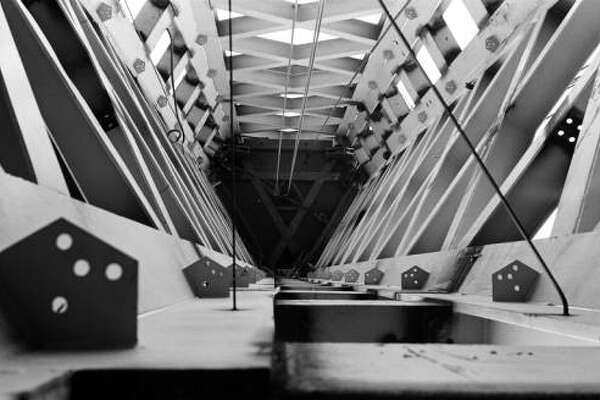 A view down inside the Space Needle's core during construction, July 1961.