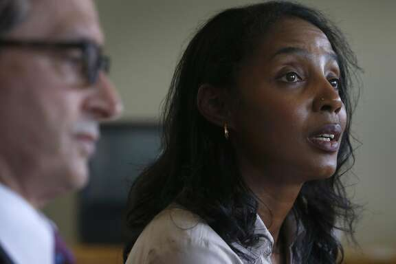 Tyann Sorrell, who was executive assistant to former UC Berkeley Law School Dean Sujit Choudhry, comments on a sexual harassment lawsuit she filed against the university and Choudry, during a news conference in Oakland on Wednesday, April 6, 2016.