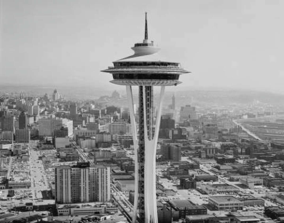 A closer look at the finished Space Needle in 1962. The project was done in less than a year, and opened to the public almost exactly a year after its groundbreaking, just in time for the 1962 World's Fair for which it was built.