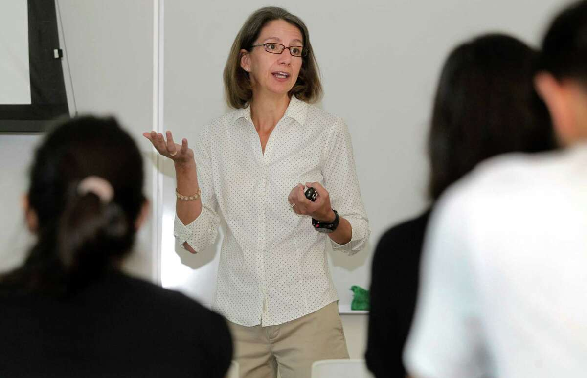 Rebecca Richards-Kortum is shown teaching her class at Rice University. She was named a 2016 fellow by the MacArthur Foundation.