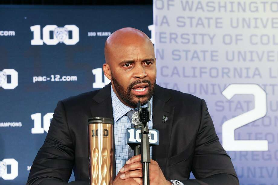 FILE-- California Coach Cuonzo Martin answers questions for the media at Pac -12 men's basketball media day in San Francisco, California on Thursday, October 15, 2015. Photo: Gabrielle Lurie, Special To The Chronicle
